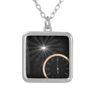 New Year Firework Silver Plated Necklace