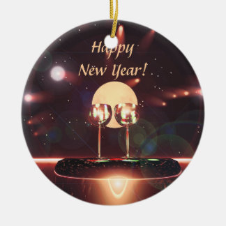 New Year Fireworks and Champagne Ceramic Ornament