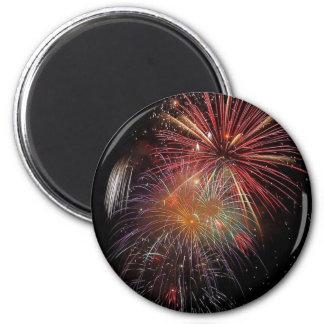 New Year Fireworks Sparkles 2 Inch Round Magnet