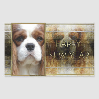 New Year - Golden Elegance - Cavalier Blenheim Sticker