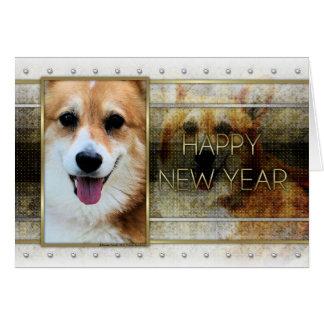 New Year - Golden Elegance - Corgi - Owen Card