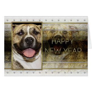 New Year - Golden Elegance - Pitbull Tigger Greeting Card