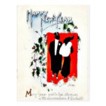 New year greetign with two couples postcard