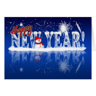 New Year Greeting Card - Happy New Year In Ice Eff