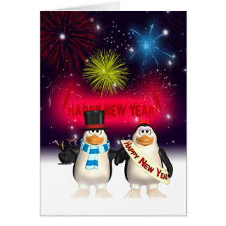 New Year Greeting Card - Happy New Year Penguins