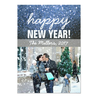 New Year Greeting Photo Card - Blue