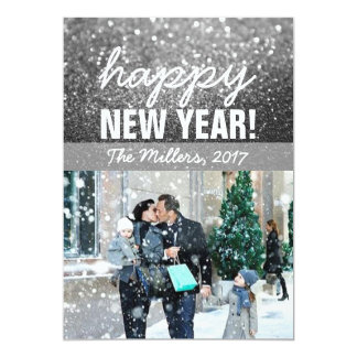 New Year Greeting Photo Card - Silver