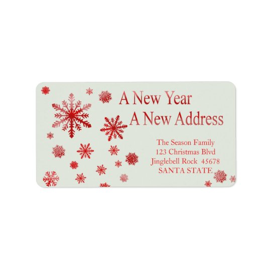 New Year, New Address snowflake holiday Label