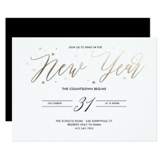 New Year Party Gold Foil Party Invitation