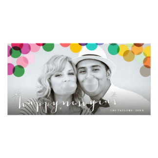 New Year Party Mix Confetti Dot Holiday Photo Card