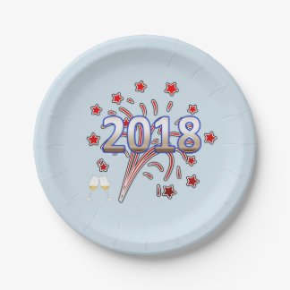 New Year party paper plate 2018 stars firewoks