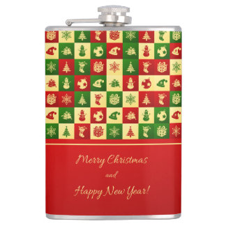 New Year pattern. Color mosaic. 2018. Hip Flask