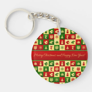 New Year pattern. Color mosaic. 2018. Keychain