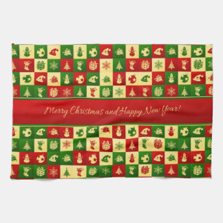 New Year pattern. Color mosaic. 2018. Kitchen Towel