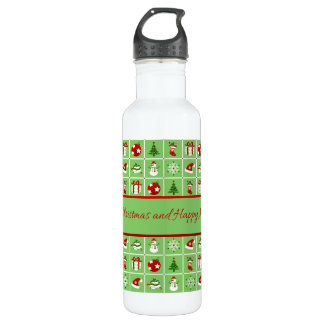 New Year pattern. Color Pictures. 2018. 710 Ml Water Bottle