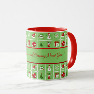 New Year pattern. Color Pictures. 2018. Mug
