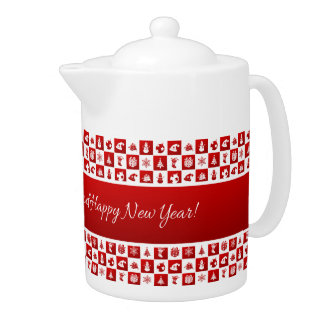 New Year pattern. Red and White. 2018.