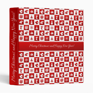 New Year pattern. Red and White. 2018. 3 Ring Binders