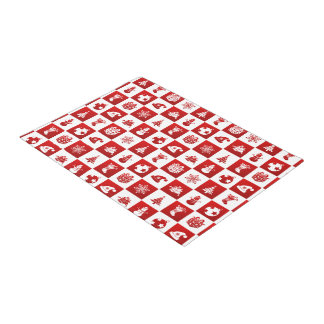 New Year pattern. Red and White. 2018. Doormat