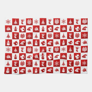 New Year pattern. Red and White. 2018. Kitchen Towel