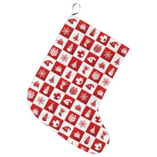 New Year pattern. Red and White. 2018. Large Christmas Stocking