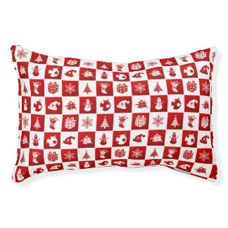 New Year pattern. Red and White. 2018. Pet Bed