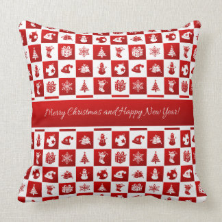 New Year pattern. Red and White. 2018. Throw Pillow