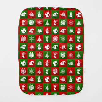 New Year pattern. Red, Green, White. 2018. Burp Cloth