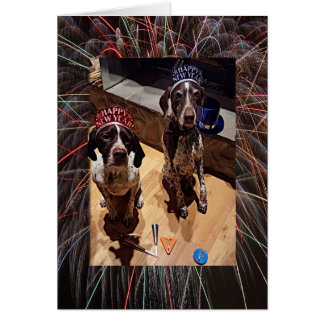 New Year's Dogs and Fireworks Greeting Card