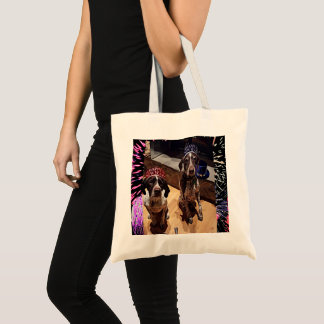 New Year's Eve Party Dogs Fireworks Budget Tote