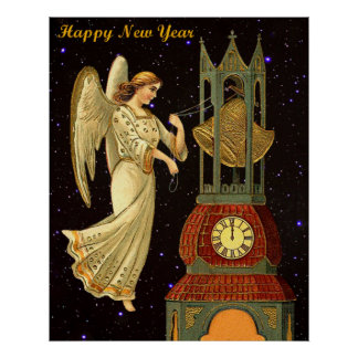 new year vintage angel poster