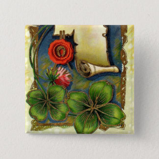 New Year With Four Leaf Clover 2 Inch Square Button