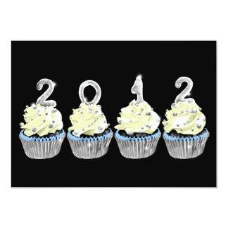 New year's 2012 cupcake invitation