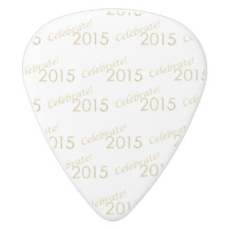 New Year's 2015 Gold Glitter on White White Delrin Guitar Pick