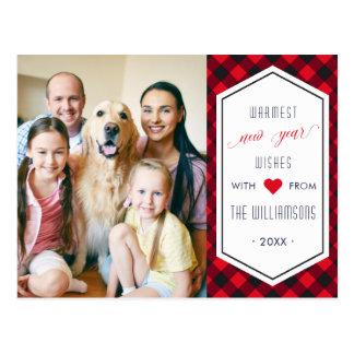 New Years Buffalo Plaid Holiday Greeting Photo Postcard