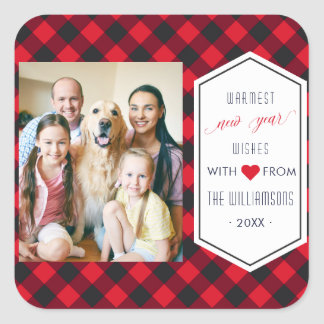 New Years Buffalo Plaid Holiday Greeting Photo Square Sticker