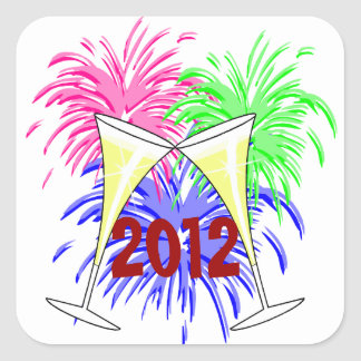 New Year's Champagne And Fire Works Stickers