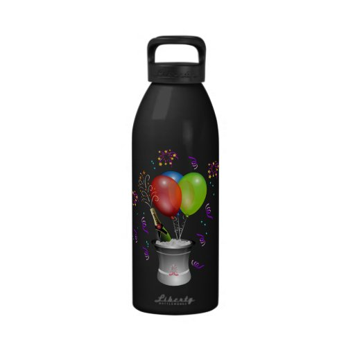 New Year's Champagne Bottle on Ice with Balloons Water Bottle