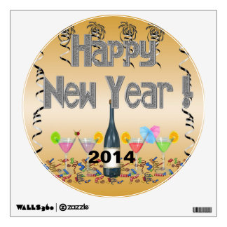 New Year's Cocktails Round Wall Decal