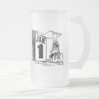 New Year's Day 16 Oz Frosted Glass Beer Mug