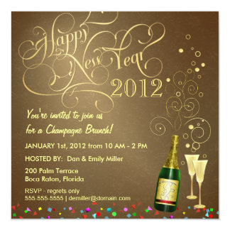 New Year's Day Party - Champagne Brunch Card