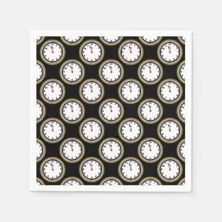 New Years Eve clock party paper napkins