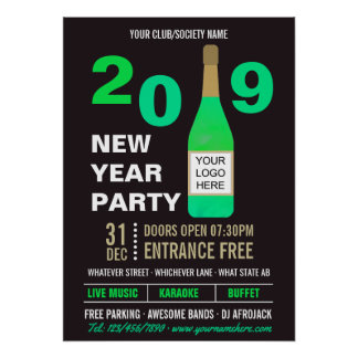 New Years Eve Club/Society Bash add Logo advert Poster