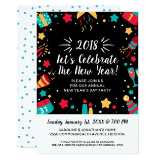 New Year's Eve Day Party Celebrate 2018 Festive Card