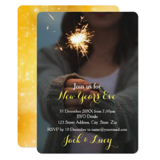 New Year's Eve | Gold Sparkler Invitation Card