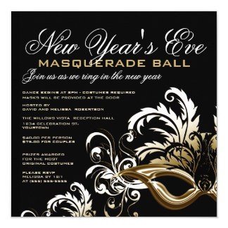 New Years Eve Masquerade Ball Invitations