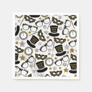 New Years Eve mixed party pattern napkins