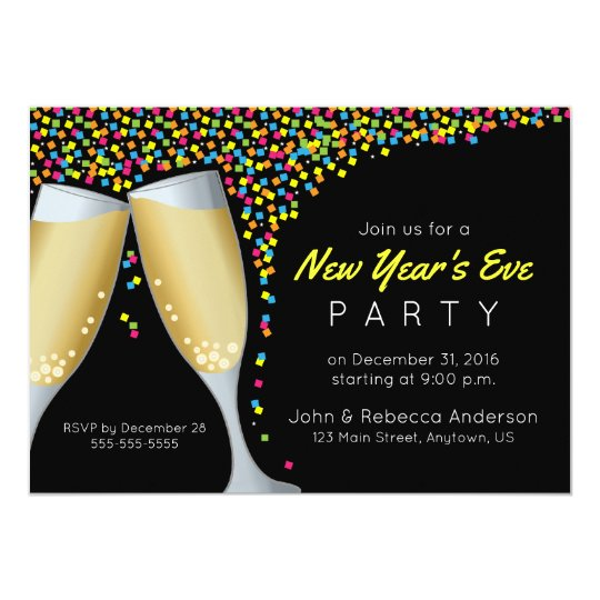New Year's Eve Party Champagne and Confetti invite