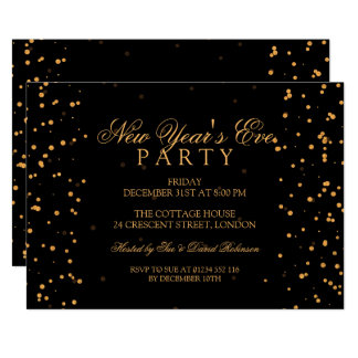 New Years Eve Party Gold Confetti Dots Card