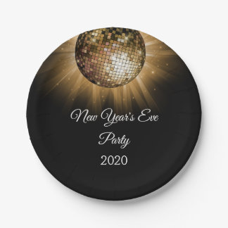 New Year's Eve Party Gold Disco Ball Paper Plate